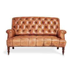 settee furniture designs. 2 Seater Brown Leather Tufted Sofa With Wooden Legs For Small Living Room Spaces Old And Vintage Furniture Ideas Settee Designs S