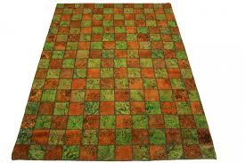 patchwork rug orange green in 330x240cm