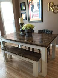 Distressed Wood Kitchen Table Solid Wood Farmhouse Kitchen Table With Matching Wooden Bench