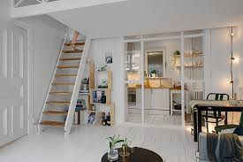 small Scandinavian apartment design with mezzanine