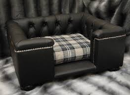 black real leather dog sofa bed with fabric cushion