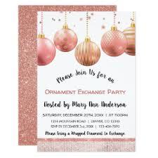 Cute Rose Gold Sparkle Ornament Exchange Party Invitation