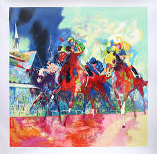 leroy neiman oil painting churchill downs by hand painted on linen canvas impressionist horse racing