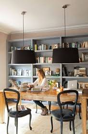 office home design. I Want A Home Office . Space With Gray Bookshelves, Black Pendant Lamps Design