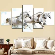hd canvas prints home decor wall art painting white running horse modern art 5pcs no frames