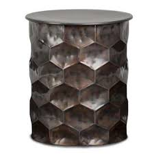 whitney contemporary round 17 in wide metal storage accent side table