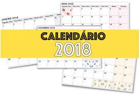 Resultado de imagem para calendario 2018