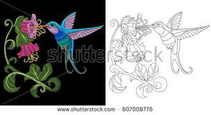 Small Picture Embroidery Hummingbird Design Collection Fancywork Elements Stock