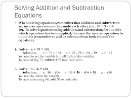 5 solving addition and subtraction equations
