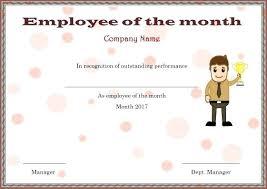 Certificate Template Employee Of The Month Award Heatsticks Co