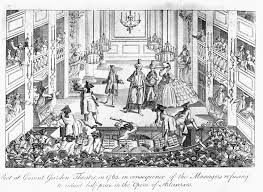 th century opera victoria and albert museum the riot during the opera artaxerxes lithograph covent garden theatre london 1763 18th century