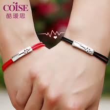 coise couple bracelets black red leather bracelets for men and women amour heartbeat tag bracelet in sterling silver matching his and hers jewelry