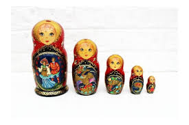 5 vintage russian dolls matryoshka wood dolls hand painted russian nesting dolls