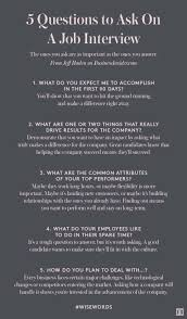 Questions To Ask During An Interview Career Finance Pinterest
