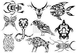 Vektorová Grafika Sada Vektorové Tribal Tetování Zvířat 1301532