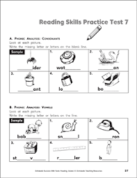 See our extensive collection of esl phonics materials for all levels, including word lists, sentences, reading passages, activities, and worksheets! Reading Skills Practice Test 7 Grade 2 Printable Test Prep And Tests