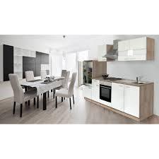 Respekta Küchenzeile ohne E Geräte LBKB270ESW 270 cm Weiß Eiche