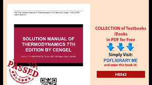 Thermodynamics Solution Manual 7th Cengel