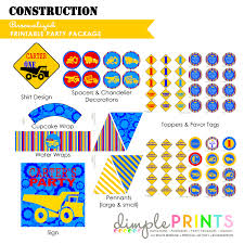 Printable Construction Signs Construction Printable Party Package
