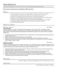 sample resume for baker bakery manager resume the best letter sample resume  sample for bakery chef