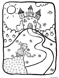 Coloriage Dessin Chateaux Avec Princesse Dessin Coloriage Princesse Et Chateau L