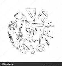 Scuola Simboli Disegnati A Mano Disegni Di Bambini Di Palla Libri