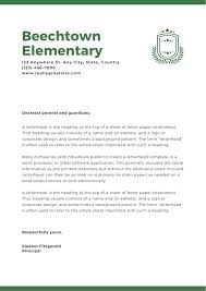 School Letters Templates Green Logo Welcome Letter To Parents School Letters