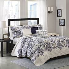 madison park bedding. Contemporary Bedding Amazoncom Madison Park Cali KingCal King Size Quilt Bedding Set  Navy  Ivory Paisley Damask U2013 6 Piece Coverlets Ultra Soft Microfiber  With K