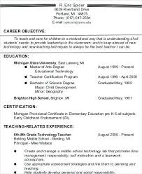 Resume Objective For Teacher