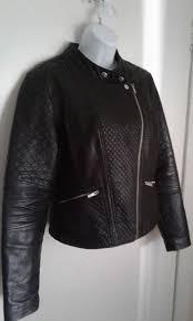 new look las black leather biker jacket sz 14