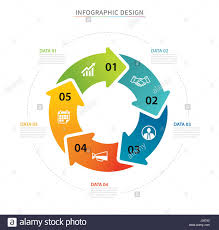 Business Circle Arrows Infographic Template With 5 Data Can Be Used