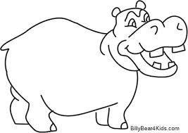 Hippopotamus Coloring Page Hippo Pages Baby Sheets Free Printable