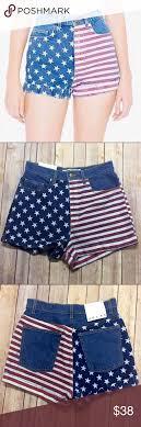 American Apparel High Waisted Flag Jean Shorts High Waisted