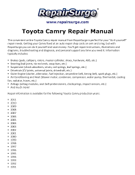 toyota camry repair manual 1990 2011