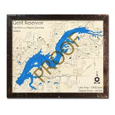 Geist Reservoir Depth Chart Geist Reservoir In Wood Map 3d Nautical Wood Charts