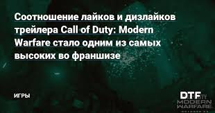 Соотношение лайков и дизлайков трейлера Call of Duty: Modern ...