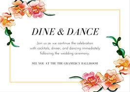 Orange Flower Border Wedding Reception Card Templates By Canva