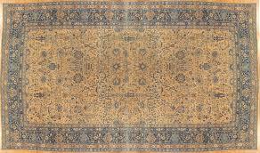 hand knotted antique lavar kerman carpet fine persian oriental rug light blue gold