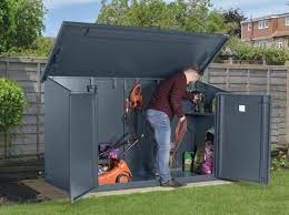 metal garden shed with electric power