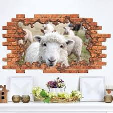 wall decal cattle sheep in hole decor