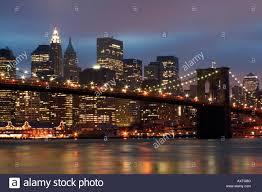 Brooklyn Bridge Lights Downtown Manhattan And Brooklyn Bridge Lights At Night New