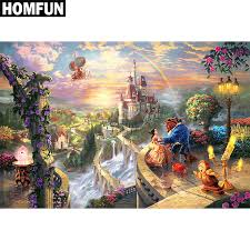 homfun full square round drill 5d diy diamond painting beauty beast 3d embroidery