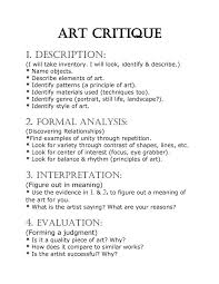 analyze paintings essay art criticism and formal analysis outline