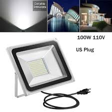 100w led flood light 110v outdoor cool white garden yard spot lamp us plug ip65