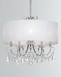 othello 5 light clear crystal polished chrome chandelier with drum shade