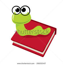 cartoon cute green bookworm with thick black rimmed gles on top of a book vector