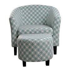 Image Upholstery Fabric Paisley Light Blue Tub Chair With Ottoman The Home Depot Paisley Furniture The Home Depot