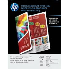 tri fold brochures hp q6612a laser glossy tri fold brochure paper q6612a b h photo