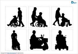 車イス電動車いすを利用する人物のシルエットイラスト画像