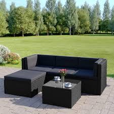5 piece milano modular rattan corner sofa set in black with dark cushions includes free protective